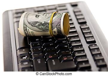 Money over keyboard