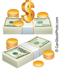 Two packs of dollars, golden coins and sign of dollar currency.