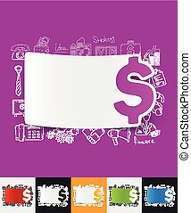 money paper sticker with hand drawn elements