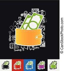 money paper sticker with hand drawn elements