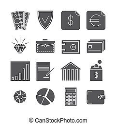 Money payments finance vector icons isolated on white