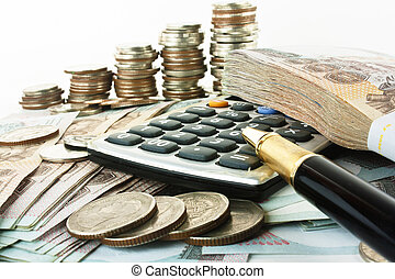 Coins, bank notes, classic pen and calculator