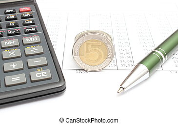 Money, pen and calculator lying on spreadsheet