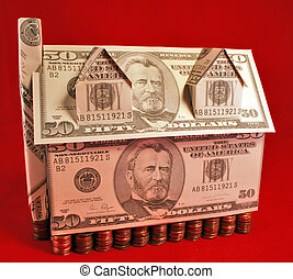 Money Penny House - A house made of fifty dollar bills with...