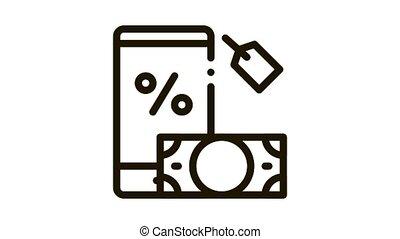 money phone pledge Icon Animation. black money phone pledge animated icon on white background
