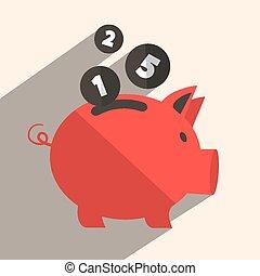 Money Pig Bank Retro Vector Illustration
