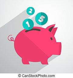 Money Pig Bank Vector Illustration