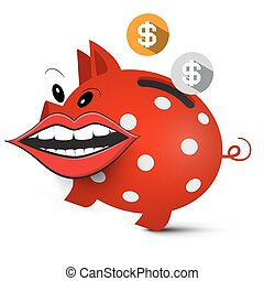 Money Pig. Crazy Piggy Bank with Dollar Coins and Big Mouth Isolated on White Background.
