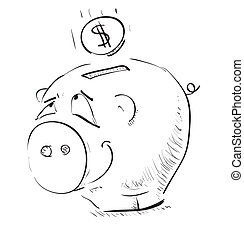 Money cartoon pig money box sketch icon