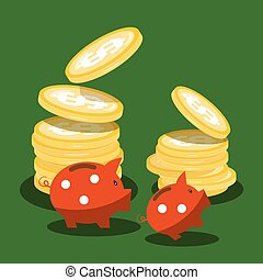 Money Piggy Banks and Dollar Coins on Green Background