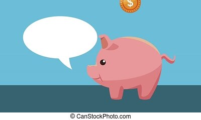 Money piggy savings HD animation