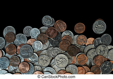 Money Pile - A whole bunch of American coins piled on top of...