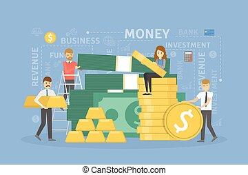 Money pile illustration. Idea of wealth, success and profit.