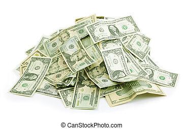 money pile - isolated on white background,selective focus on...