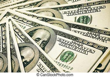 Money pile - Pattern of one hundred dollar bills.