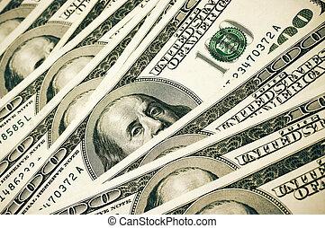 Money pile - Pattern of one hundred dollar bills pile.
