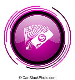 Money pink glossy web icon isolated on white background