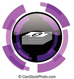 Money pink violet modern design vector web and smartphone icon. Round button in eps 10 isolated on white background.