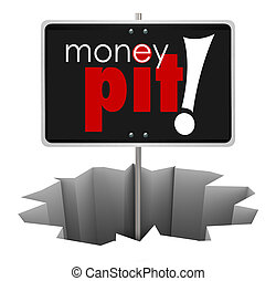 Money Pit Sign in Hole Wasteful Spending Bad Investment