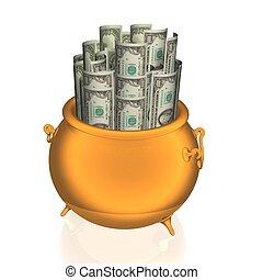 money pot - Golden pot empty over white environment
