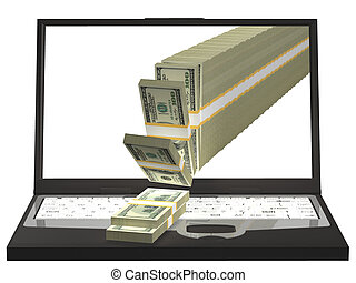 Money Pouring Out From A Notebook Computer. 3D illustration