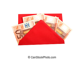 Digital photo of an envelope with money.