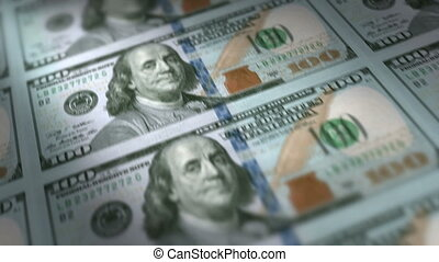 Money Printing 100 US Dollar Bills