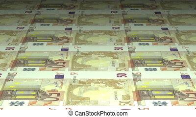 Money printing: 50 euros banknotes - 50 euros banknotes...