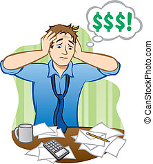 Illustration of a stressed out man having money problems