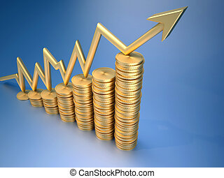 Money profit - Financial chart consisting of gold penny and...