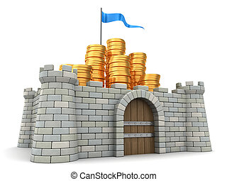 money protect - 3d illustration of golden coins heap...