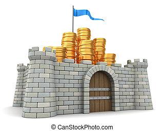 money protect - 3d illustration of golden coins heap...
