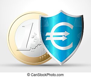 Money protection concept - 1 euro behind shield