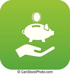 Money protection icon green vector
