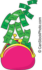 A pink money purse is open and dollar bills are flying out of it