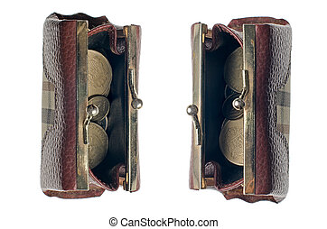 Money purse with coins