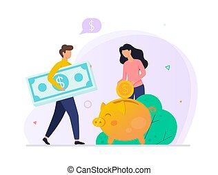 Money putting inside the piggy bank. Financial savings from ...
