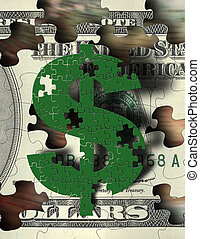 Money Puzzle - Puzzle Piece $ symbol and US money
