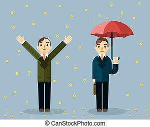 Money rain. Businessman with umbrella standing under rain of golden coins