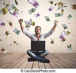Money rain concept of success
