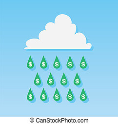 Money Rain Drops  - Dollar sign rain drops from cloud