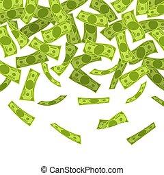 Money rain. Falling dollars banknotes, finances luck ...
