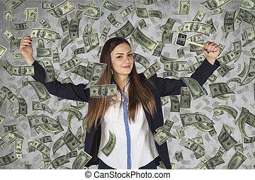 money rain falls on the woman business