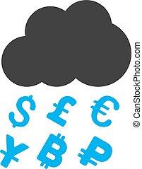 Money Rain Flat Vector Icon