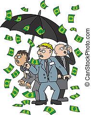 Money rain - Illustration frightened businessmen standing...