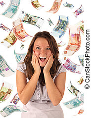 Money rain (roubles banknotes) - Surprised girl on falling ...
