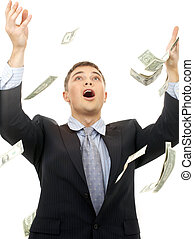 money rain - happy successfull businessman in money rain...