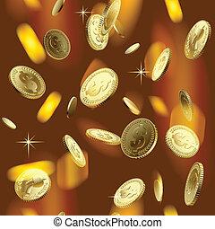 Money rain - vector image of the shining gold money rain....