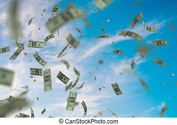 Money raining and falling down from sky. 3D rendered...