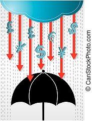 Money Rains Drop Conceptual.